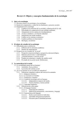 BLOQUE I: Objeto y conceptos fundamentales de la sociología
