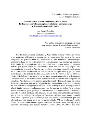 Charles Peirce, Gaston Bachelard y Paulo Freire. Reflexiones sobre ...