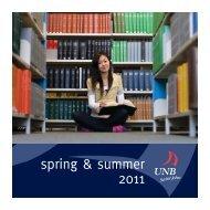 UNBSJ Spring/Summer Brochure - University of New Brunswick