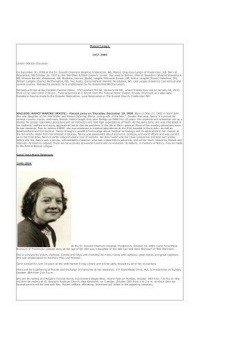 2009 Obituaries - University of New Brunswick