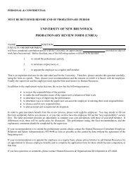 UNBEA Probationary Review Form - University of New Brunswick