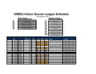 UNBSJ Indoor Soccer League Schedule