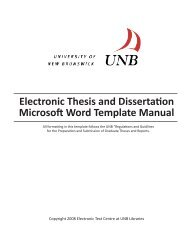 Electronic Thesis and Dissertation Microsoft Word Template Manual