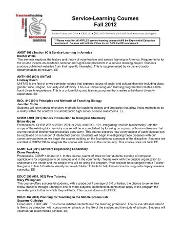 Service -Learning Courses Fall 2012 - The University of North ...