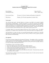 Economics 890-2 Empirical Industrial Organization and Applied ...