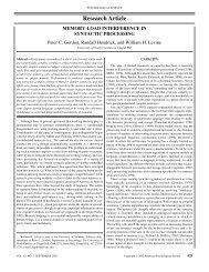Gordon et al (2002) - Department of Psychology and Neuroscience