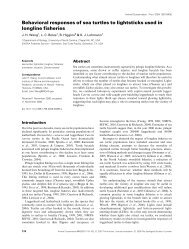 Behavioral responses of sea turtles to lightsticks used in longline ...