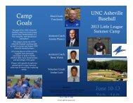 Camp Goals - UNC Asheville Athletics