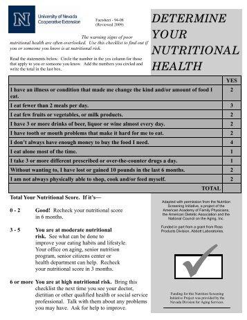 Determine Your Nutritional Health - University of Nevada ...