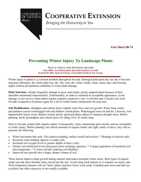 Preventing Winter Injury to Landscape Plants - University of