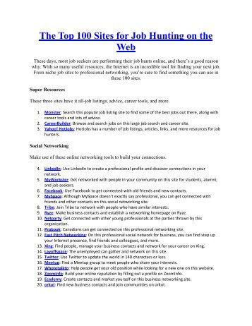 The Top 100 Sites for Job Hunting on the Web