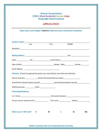 Application - Fayetteville State University