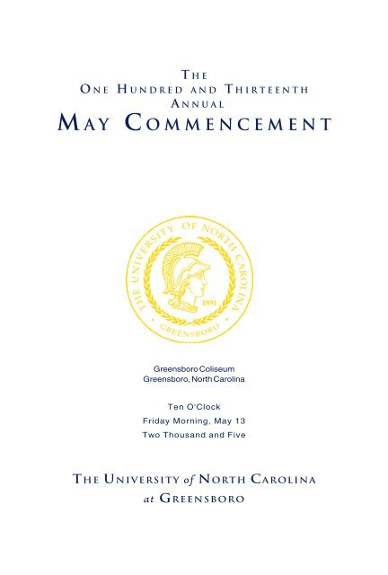 Ma Y Commencement The University Of North Carolina At Greensboro