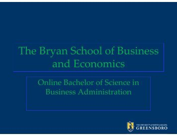 The Bryan School of Business and Economics - The University of ...