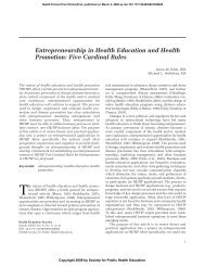 Entrepreneurship in Health Education and Health Promotion: Five ...