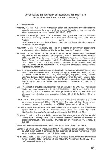 145 Consolidated Bibliography of recent writings related to ... - uncitral