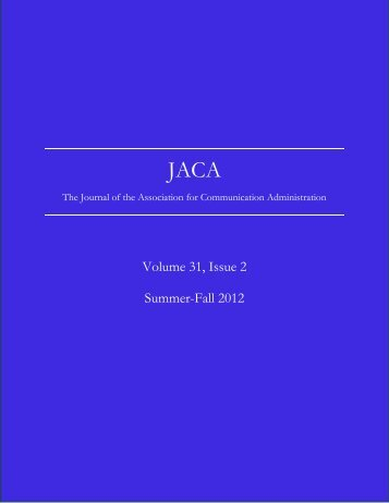 JACA Vol. 31, No. 2 - University of Northern Colorado