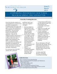 Counseling Psychology Doctoral program Spring 2013 Newsletter