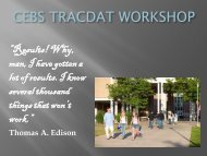 CEBS TRACDAT WORKSHOP - University of Northern Colorado