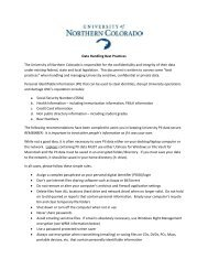 Data Handling Best Practices The University of Northern Colorado is ...