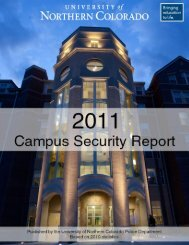 2011 Campus Security Report - University of Northern Colorado