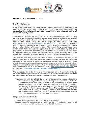 NGO cluster matrix - Rio+20
