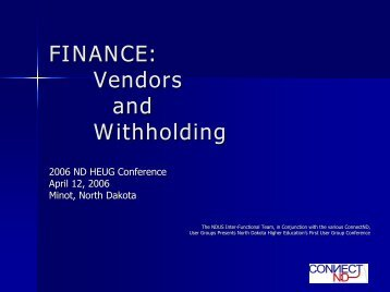 Vendors and Withholding - University of North Dakota