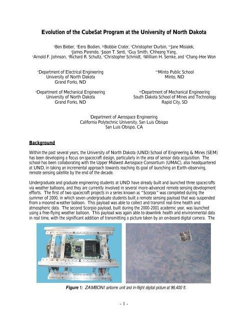 Evolution of the CubeSat Program at the University of North Dakota
