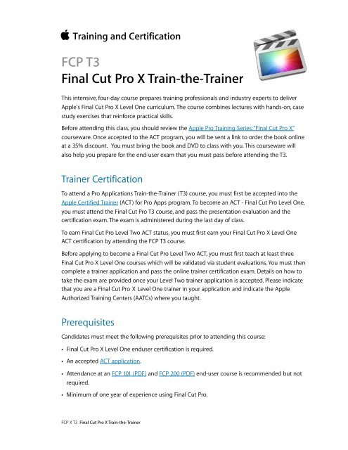 FCP T3 Final Cut Pro X Train-the-Trainer - Training - Apple