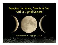 Imaging the Moon, Planets & Sun with a Digital Camera