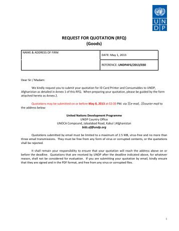 request for quotation rfq goods undp afghanistan