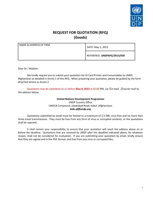 REQUEST FOR QUOTATION (RFQ) (Goods) - UNDP Afghanistan