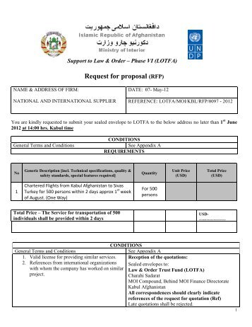 Request for proposal (RFP) - UNDP Afghanistan