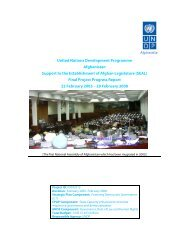Final Report of SEAL I - UNDP Afghanistan