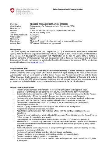 Finance and Administration Officer - UNDP Afghanistan