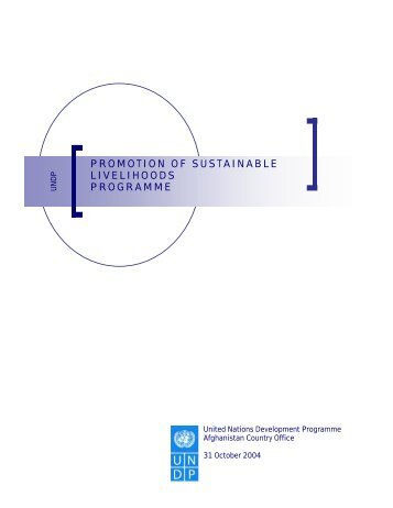 Promotion of Sustainable Livelihoods - UNDP Afghanistan