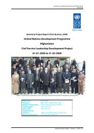 Progress Report Quarter 1 2009 - UNDP Afghanistan