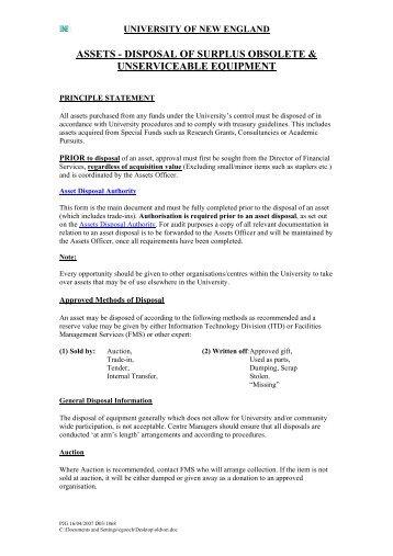Asset Disposal - University of New England