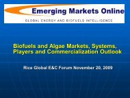 2010. Biofuels and Algae Markets, Systems, Players and