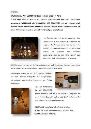 WORMLAND ART COLLECTION zur Fashion Week in Paris