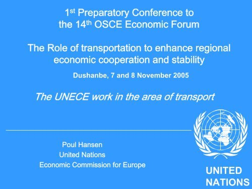 Dushanbe, 7 and 8 November 2005 - UNECE