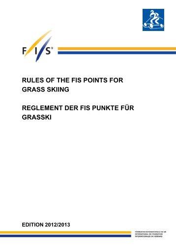 REGLEMENT FIS PUNKTE - Ausgabe 2012