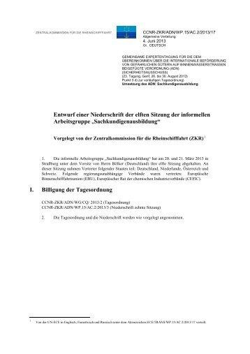 Entwurf einer Niederschrift der elften Sitzung der ... - UNECE
