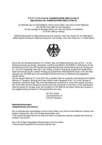 F E S T L E G U N G Nr. D/BAM/GGVSEB (RID)/2.2-236/13 ...