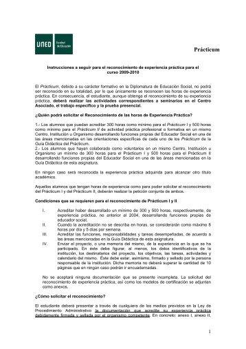 reconocimiento de experiencia práctica para el curso 2006 ... - Uned