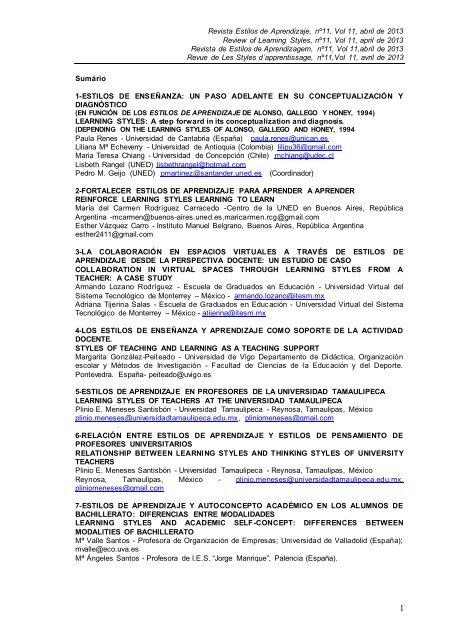 Revista Estilos De Aprendizaje Nâº11 Vol 11 Abril De 2013