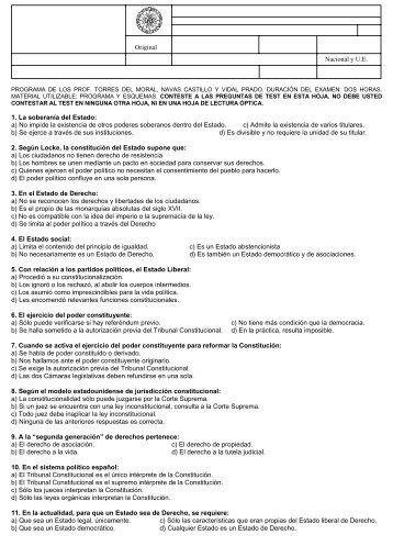 Para ver examen y soluciones del test de febrero de 2008 ... - UNED