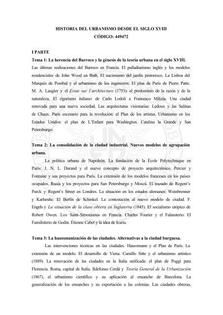 HISTORIA DEL URBANISMO DESDE EL SIGLO XVIII ... - Uned