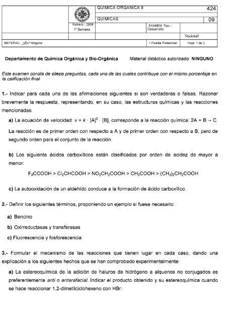 Quimica Organica Ii 424 Uned Cervera