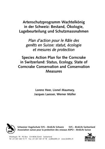 Artenschutzprogramm Wachtelkönig in der Schweiz ... - AEWA